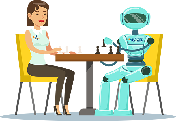 Woman and Apogee robot at table